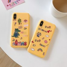 Yellow Japanese Anime Kawaii Sailor Moon dinosaur Phone Case For iPhone 6 6 Puls 6S 7 8 Puls X Cases TPU Soft Back Cover Coque(China)