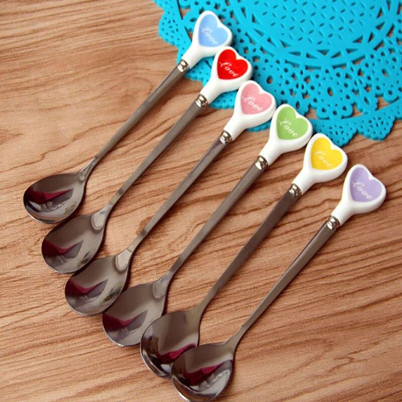 Керамическая ручка, красочная ложка для мороженого в форме сердца, ложка для кофе, десерта, ложка из нержавеющей стали, столовые приборы