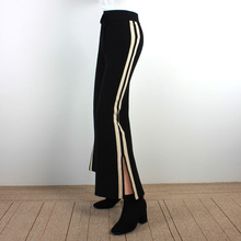 Korean Stripe Black Knitted Pants High Waist Autum