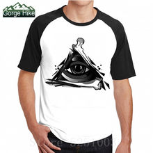 3D Geometry Triangle T Shirts Men's Hip Hop Eye of Darkness Printed Cotton Streetwear Tops Tees Streetwear vacant space Tshirts(China)