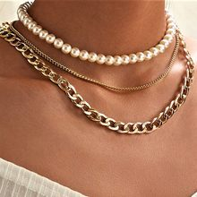 Gold Pearl Chains Necklace Layered Necklaces For Women Bohemian Chain Necklace Set Jewelry Aesthetic Thick Necklace Vintage(China)