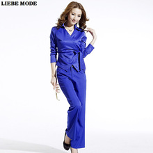 Woman 2 Pieces Set Outfit Top shirt and Pants Suits for Women Business Casual Trouser Suit Female OL Fashion Pantsuits