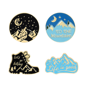 Mountain Outdoors Enamel Brooches Adventure Pin for Clothes Backpack Snow Mountain Round Badges Jewelry Gift for Women Men image
