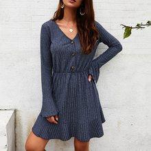 Women knitted a-line dress female warm bell sleeve mini dress casual fit and flare elegant dress 2019 autumn winterfashion split bell sleeve a line dress