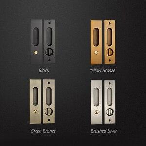 Image 2 - KAK Sliding Door Lock with Keys Hidden Door Handle Interior Door Pulls Lock Anti theft Room Wood Door Lock Furniture Hardware