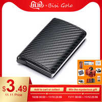 BISI GORO 2019 mode crédit porte-carte carbone porte carte en fibre aluminium mince porte-carte courte RFID blocage carte portefeuille