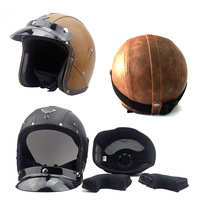 ABS Helmets 3/4 Motorcycle Chopper Bike Helmet Open Face Vintage With Goggle Mask Retro Personalized For Mens Womens
