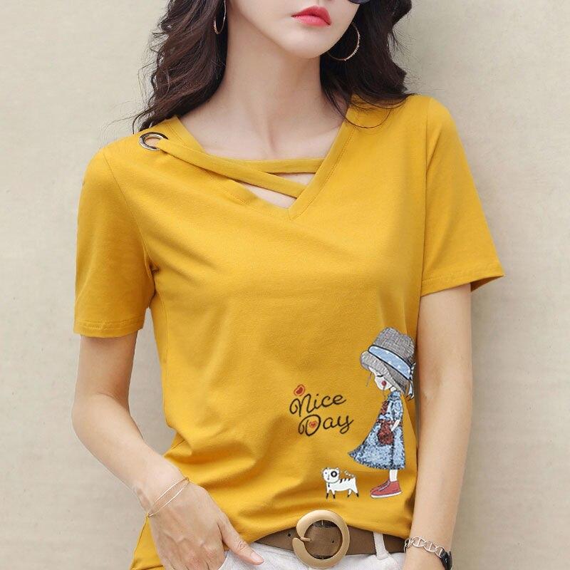 2020 футболка с v образным вырезом, 100% хлопок, женская летняя Модная рубашка с коротким рукавом, женская футболка, свободные женские рубашки в Корейском стиле, большие размеры Футболки      АлиЭкспресс
