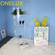 (Flat packed )Clear Acrylic 5 Shelf Open Bookcase/Transparent acrylic all purpose display shelf   40W 40D 152H CM