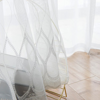 White Embroidered Curtain Fabric Simple Modern Screen for Bedroom for Living Room