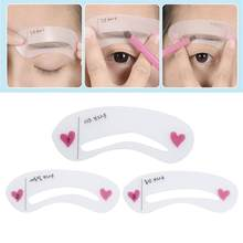 3 รูปแบบ Reusable Eyebrow Stencil Grooming Brow Painted Stencil Kit(China)