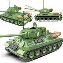 1113 pçs tanque militar rússia T-34 médio tanque blocos de construção ww2 soldado polícia exército armas tijolos crianças brinquedos presentes