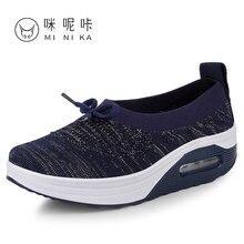 Women Flat Sport Toning Shoes Black Blue Ladies Platform Slimming Sneakers Outdoor Ladies Athletic Swing Wedge Shoes
