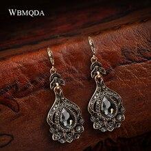 Wbmqda роскошные серые хрустальные свадебные серьги для женщин античный золотой цвет пляжные вечерние серьги-капли новые винтажные ювелирные изделия