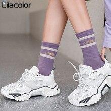 Women Socks Cotton Striped Letter Spring Schoolgirl Casual Long New Fashion Happy Breathable Ladies women