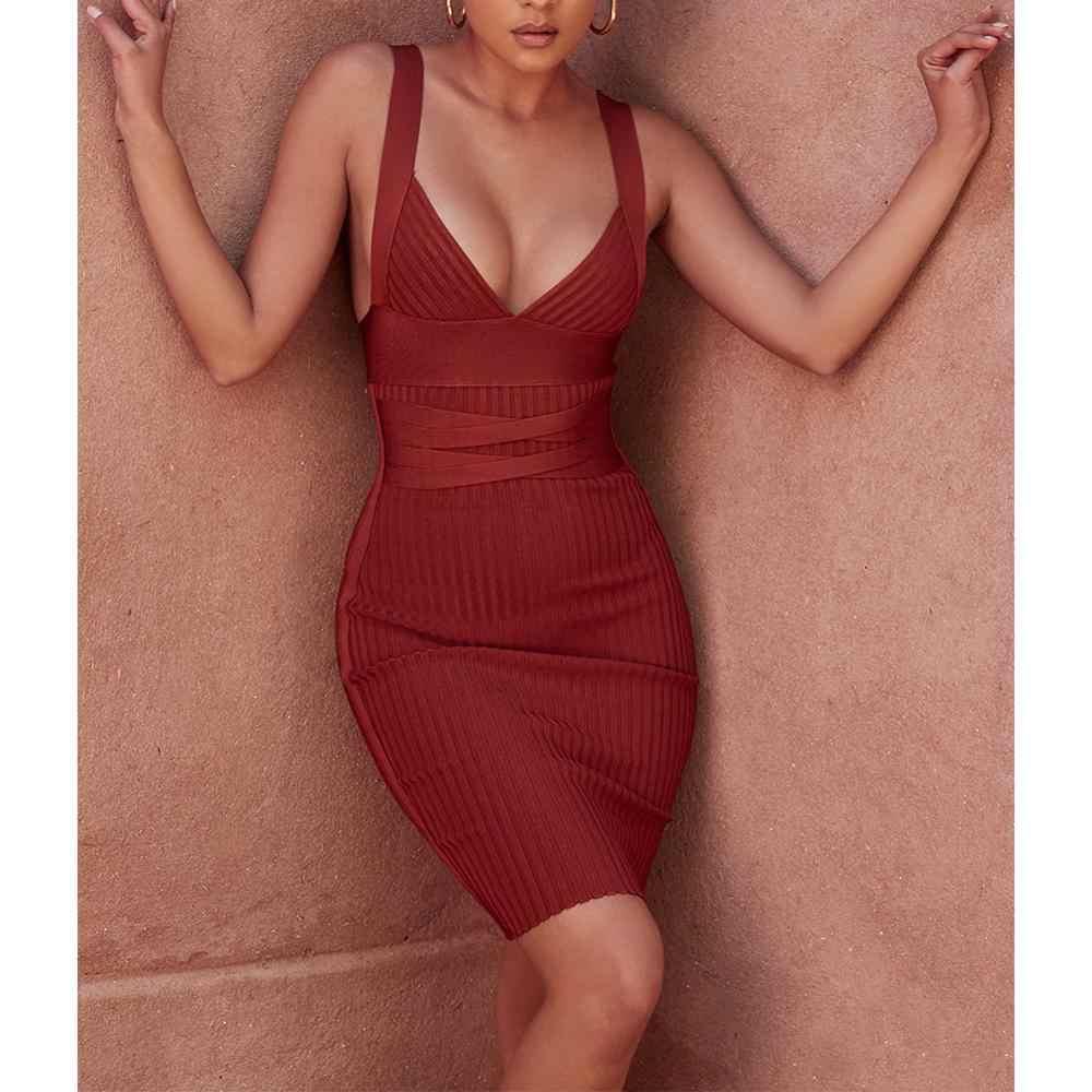 Ocstrade 여름 섹시한 붕대 드레스 2020 새로운 패션 여성 와인 레드 붕대 드레스 Bodycon 클럽 이브닝 파티 드레스