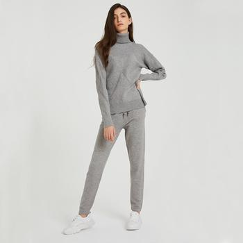 Wixra Autumn Winter Casual Knitted Women's Sets Turtleneck Long Sleeve Sweaters Lace-up Pants Solid Sets For Ladies 1