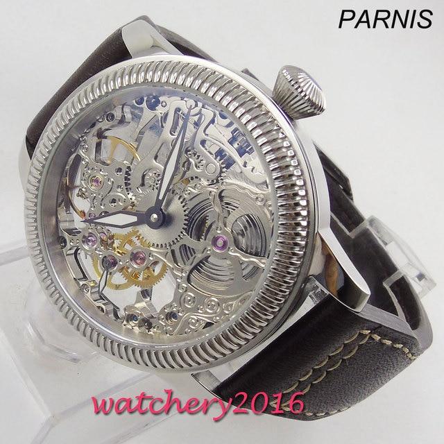 Luxury 44mm PARNIS Hollow mens watch luminous hands 17 jewels mechanical 6497 skeleton hand winding movement Mens watch