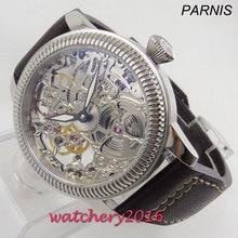 Luxus 44mm PARNIS Hohl herren uhr leucht hände 17 juwelen mechanische 6497 skeleton handaufzug bewegung männer uhr