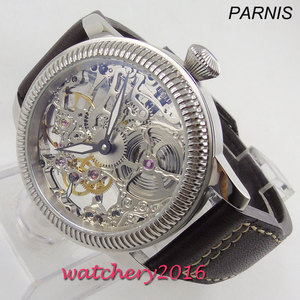 Image 1 - Luxus 44mm PARNIS Hohl herren uhr leucht hände 17 juwelen mechanische 6497 skeleton handaufzug bewegung männer uhr
