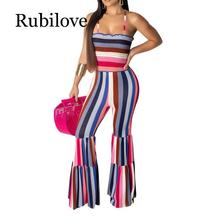 Rubilove Rainbow Striped Sexy Bodycon Jumpsuits For Women Spaghetti Strap Backless Flare Romper Summer Sleeveless One Piece Part stylish striped spaghetti strap ruffled one piece swimsuit for women