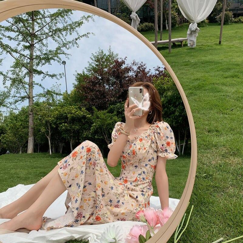 Vingate Sweet Dress Women Short Sleeve Floral Printed Dress Beach for Females Square Collar One Piece Dress Korean 2021 Summer Women Women's Clothings Women's Dresses