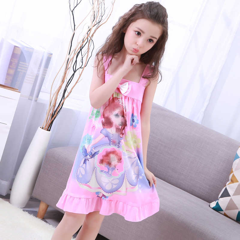 안나 엘사 복장 소녀 Nightdress 의류 여름 만화 잠옷 아동 의류 반팔 잠옷 복장 아이 Homewear