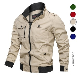 Image 2 - Men Bomber Jackets Multi Pockets Autumn New Casual Mens Military Pilot Coats Solid Stand Collar Cargo Outwear Windbreaker Male