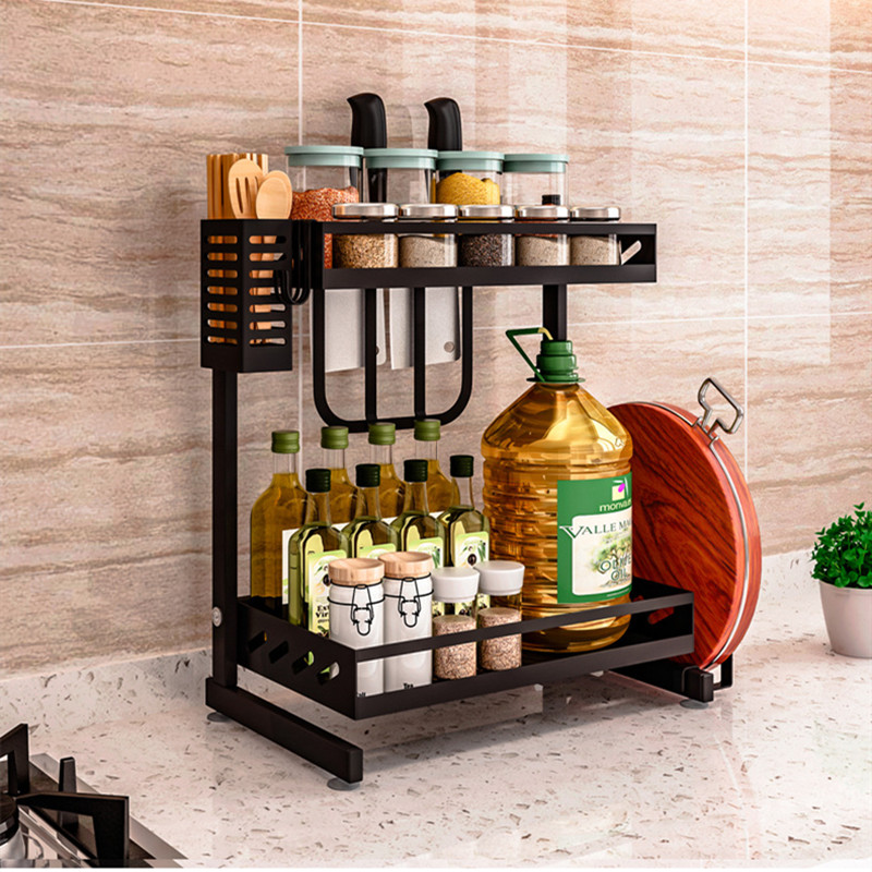 Stainless steel kitchen rack floor-standing countertop seasoning rack seasoning storage shelf multi-layer sauce storage rack