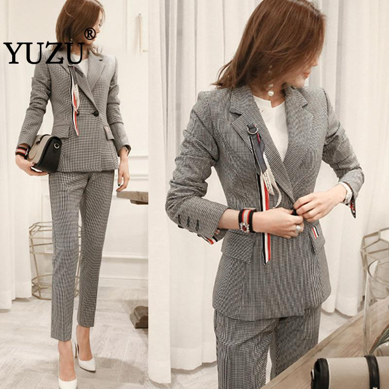 Two Piece Set Blazer And Long Pants Office Women Gray Plaid Elegant Long Sleeve Double Breasted Notched Collar Zipper Fly Pants