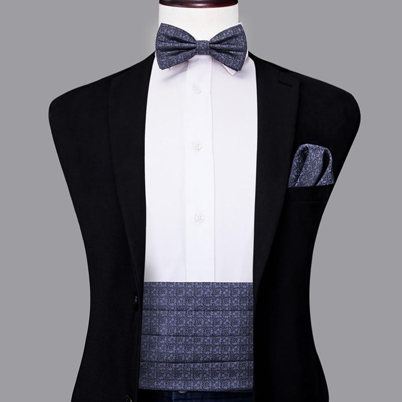 YF-2008 Hi-Tie Luxury Silk Men's Formal Wedding Party Floral Cummerbund Bow Tie Hanky Cufflinks Set Tuxedo Cummerbunds Grey