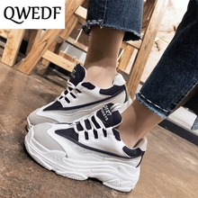 QWEDF 2019 New autumn Women Casual Shoes Wild Platform Heels Female Leisure Black White Letters Sneakers zapatos de mujer AC-41
