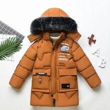 Новинка 2019 года, зимняя детская одежда, детский теплый пуховик с хлопковой подкладкой для мальчиков, длинное пальто для маленьких мальчиков