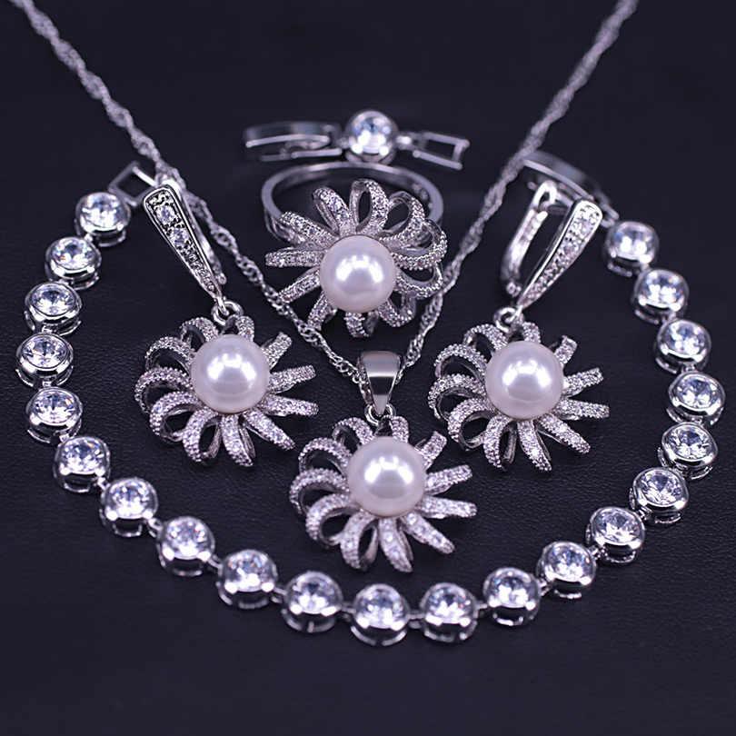 Летний освежающий Ювелирный Комплект серебряного цвета с белым жемчугом, сережки, ожерелье, кольцо, костюм, дикая юбка, Ювелирный Комплект с маргариткой