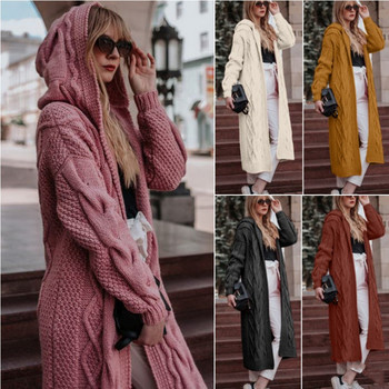 New 2020wish hot sale in Europe and America autumn winter solid color hooded long cardigan sweater