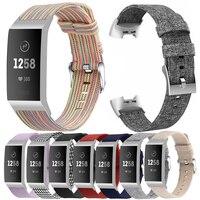 Essidi pulsera de lona para Fitbit Charge 3 4 correa de recambio para relojes inteligentes para Fitbit Charge 3 4 Cierre deportivo Weaven