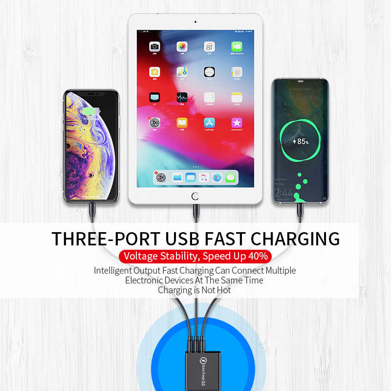 Elough hızlı şarj 3.0 USB şarj cihazı iPhone 11 7 Xiaomi Samsung Huawei 5V 3A dijital ekran hızlı şarj duvar telefonu şarj cihazı