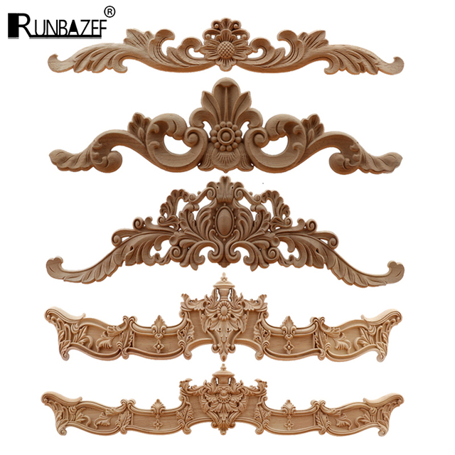 RUNBAZEF  European Wood Carving Home Wholesale Multi-specification Door Cabinets Wood Applique Decoration Long Decals Natural 1