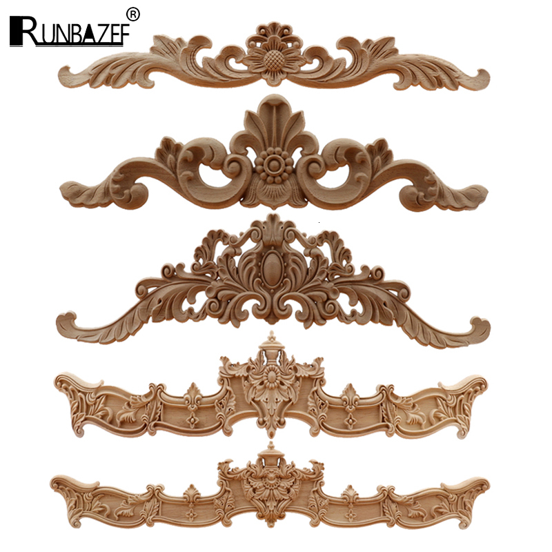 RUNBAZEF  European Wood Carving Home Wholesale Multi-specification Door Cabinets Wood Applique Decoration Long Decals Natural
