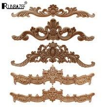 Runbazef escultura de madeira europeia, multiespecificação para porta, armários, madeira, decoração, decalques longos naturais