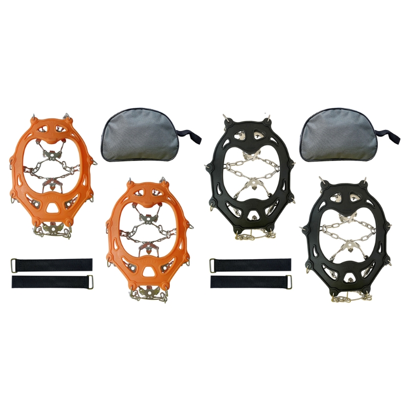 Ice Snow Grips 19 Spikes Crampon Traction Cleats Anti Slip Winter Ice Grippers Shoe Boots Cleats Ice Grippers for Walkin