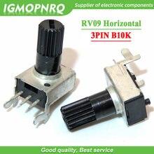 10 pces rv09 horizontal lidar com comprimento 12.5mm 10k 0932 resistência ajustável 3pin b103 selado potenciômetro rotativo