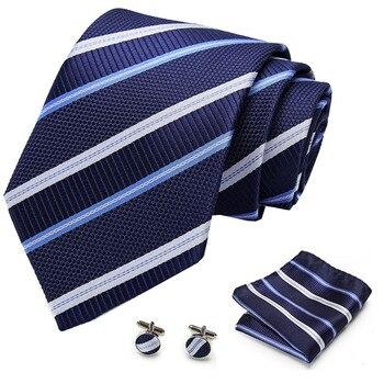 8cm Tie Set 100%Silk Jacquard Mens Necktie Paisley Gravata Hanky Cufflinks Pocket Handkerchief for Wedding