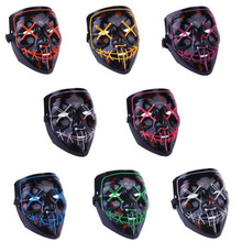 Halloween LED Light Up Party Masks  Neon Maske Glow In The Dark Mascara Horror Maska Cosplay Costume Supplies