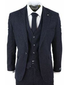 2020 Navy Mens Suits Polyester 3 Piece Peaked Lapel Terno Masculino Gatsby 1920s Peaky Blinders Gangster