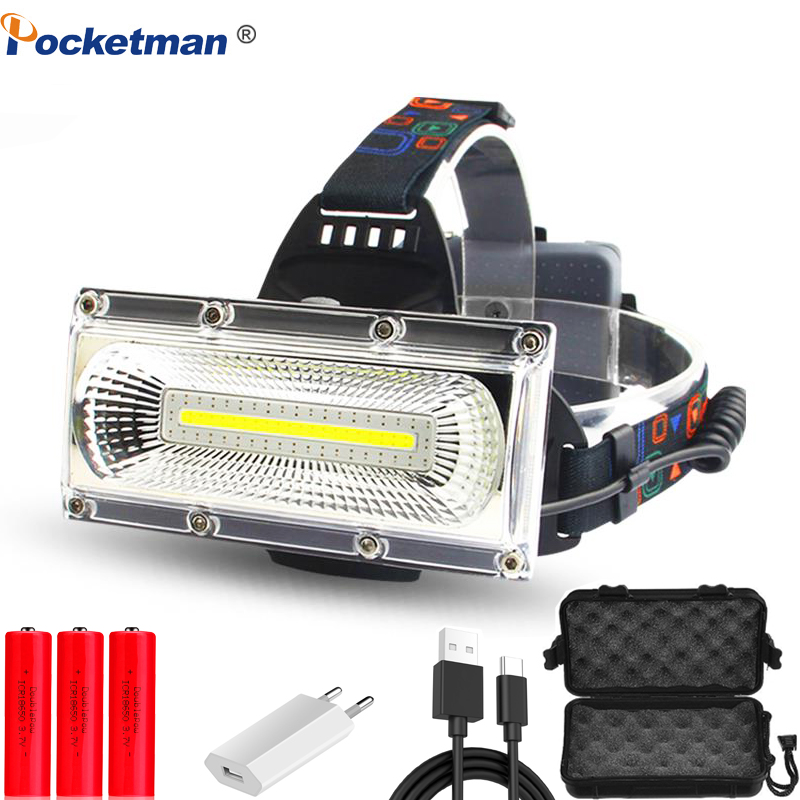 Super Bright COB LED Headlamp Repair Light Head Lamp USB Rechargeable Waterproof Headlight 18650 Battery Fishing Lighting