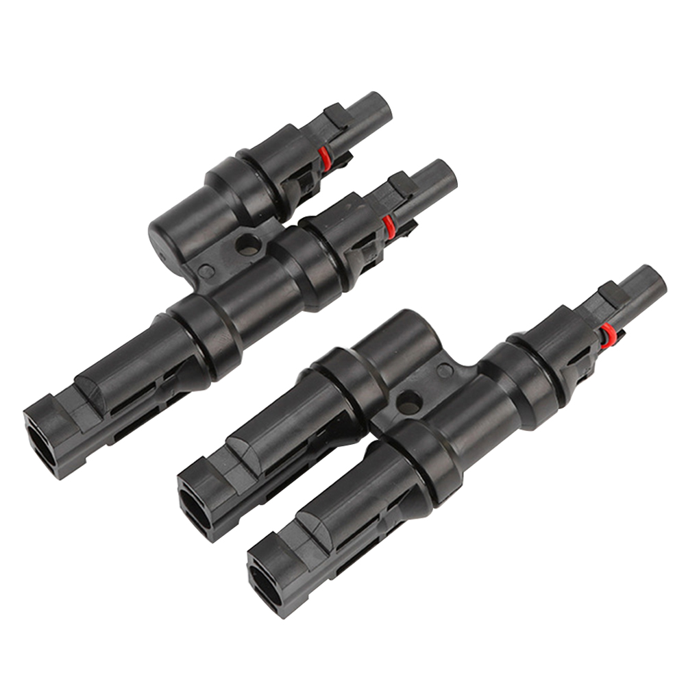 Parallel T Type Connector Black 30A Heat Resistant Easy Install <font><b>MC4</b></font> Branch Component Solar Panels <font><b>Adapter</b></font> <font><b>Cable</b></font> Durable image