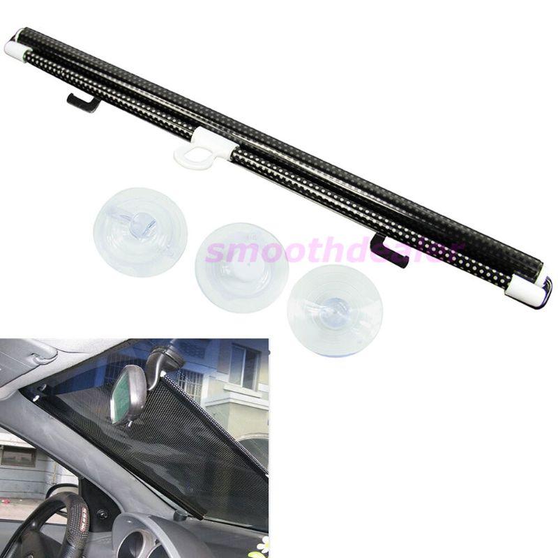 Car Styling Black 58 x125cm Car Auto Window Roll Blind Sunshade Windshield Sun Shield Visor Drop Shipping