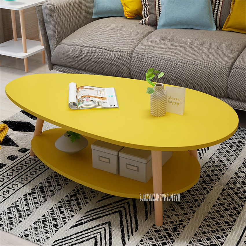 E5014 Modern Simple Living Room Round Tea Table Side Table Creative Double Layer Balcony Small Manmade Board Coffee Table