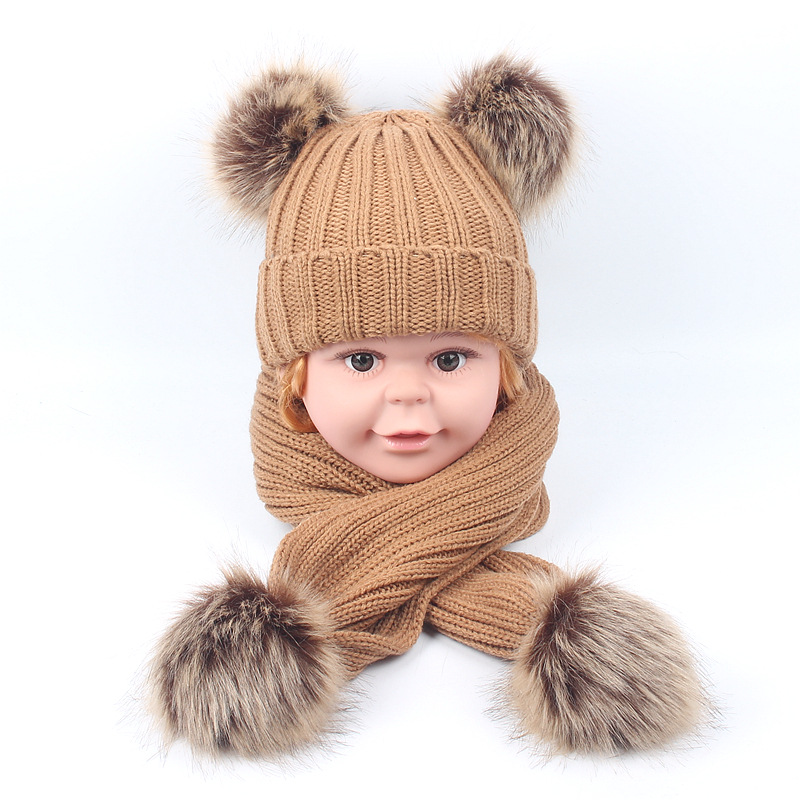 2019 Knitted Winter Hat Scarf For Kids Thicken Warm Beanies Hat Double Balls Soft Scarf For Girls Boys Gift